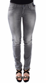 Gray Slim Jeans Denim Pants Skinny Stretch