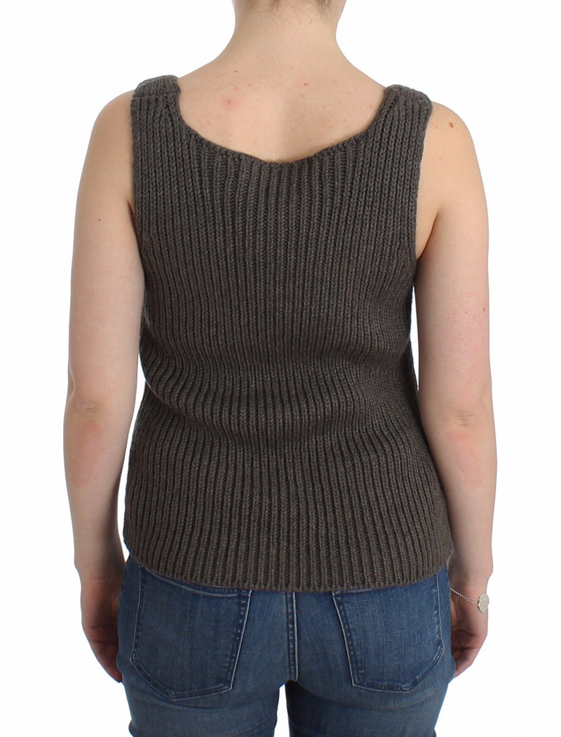 Gray Knit Top Knitted Sweater Merino Wool