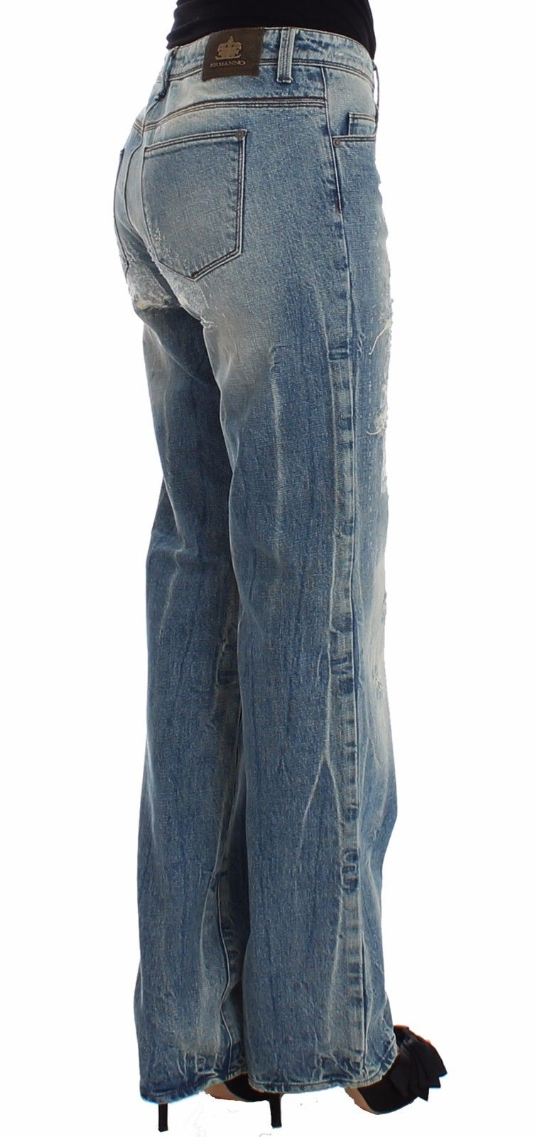 Blue Distressed Boyfriend Jeans Denim Straight