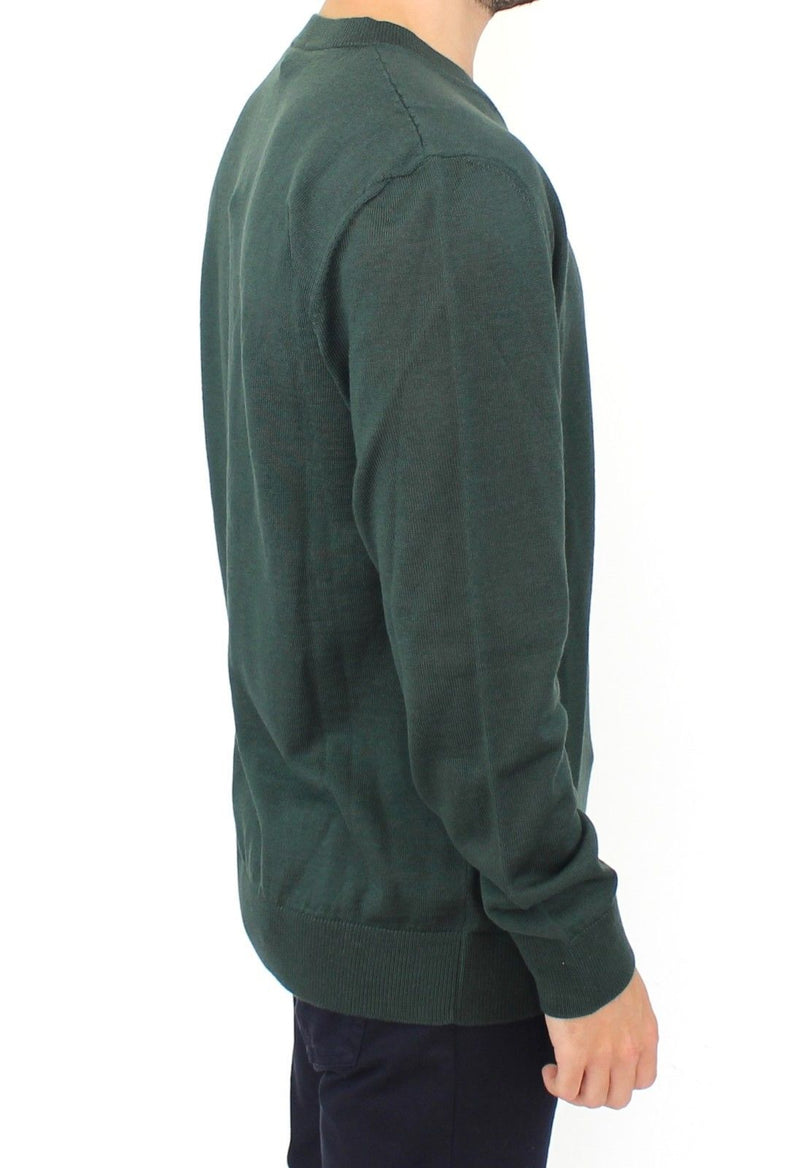 Green Wool Blend V-neck Pullover Sweater
