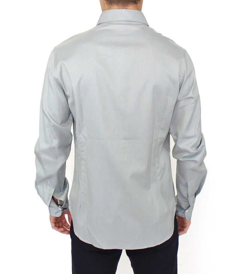 Gray Cotton Long Sleeve Casual Shirt Top