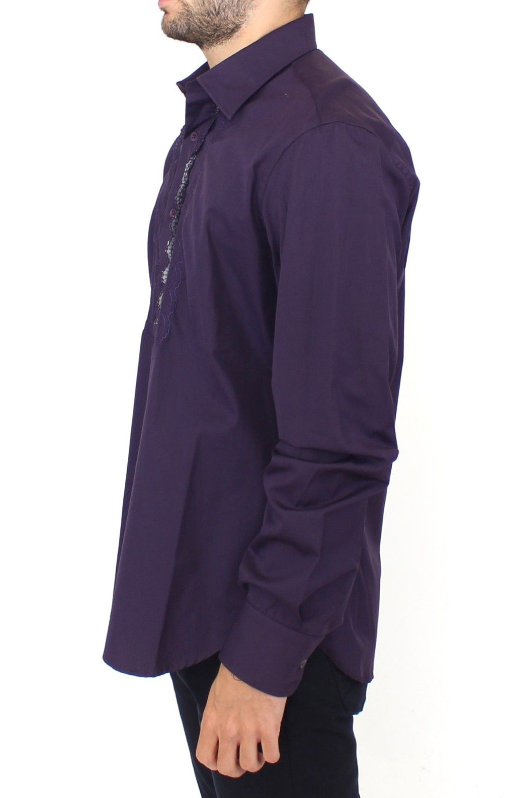 Purple Cotton Long Sleeve Casual Shirt Top