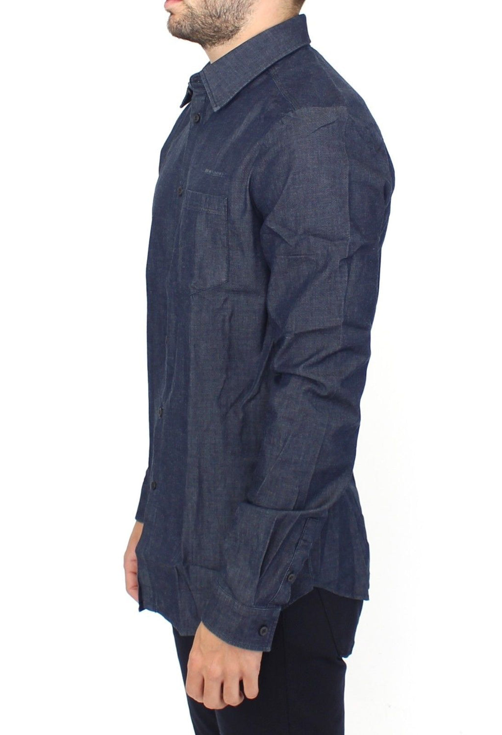 Blue Stretch Denim Jeans Cotton Casual Shirt