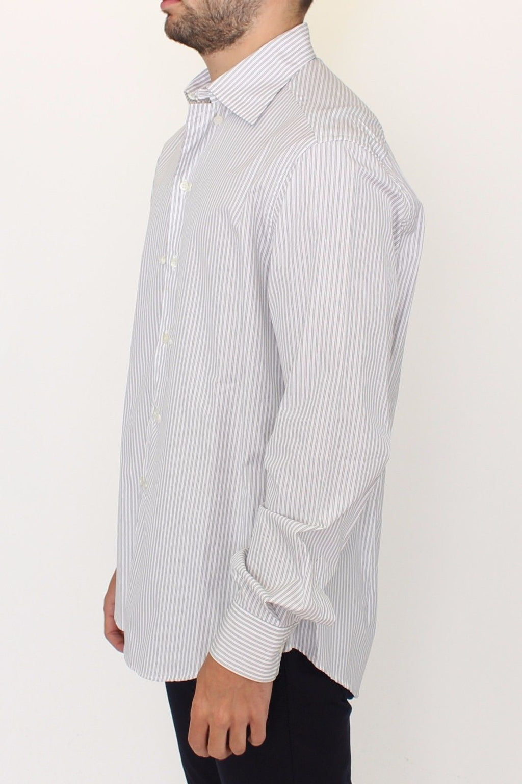 White Gray Striped Regular Fit Casual Shirt