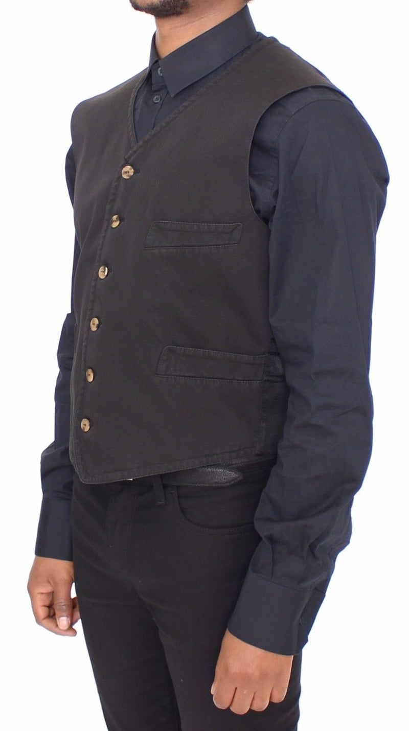 Black Cotton Viscose Dress Vest Blazer