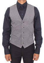 Gray Cotton Stretch Dress Vest Blazer
