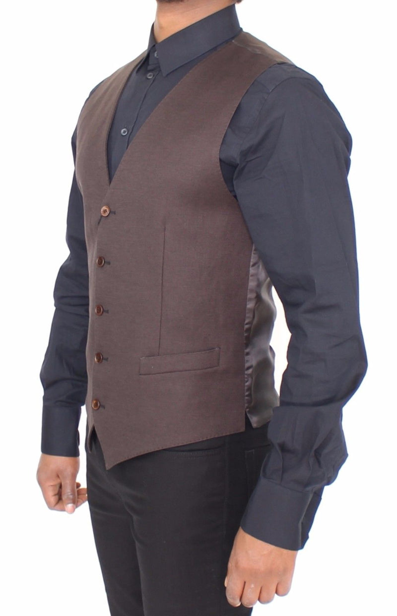 Brown Cotton Flax Formal Dress Vest Gilet