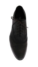 Gray Frog Skin Leather Derby Shoes