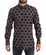 Purple Polka Dot Slim Fit GOLD Mens Shirt