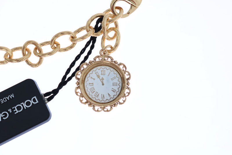 Gold Brass Watch Crystal SICILY Charms Necklace