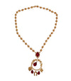 Gold Brass Red Crystal SICILY Charms Necklace
