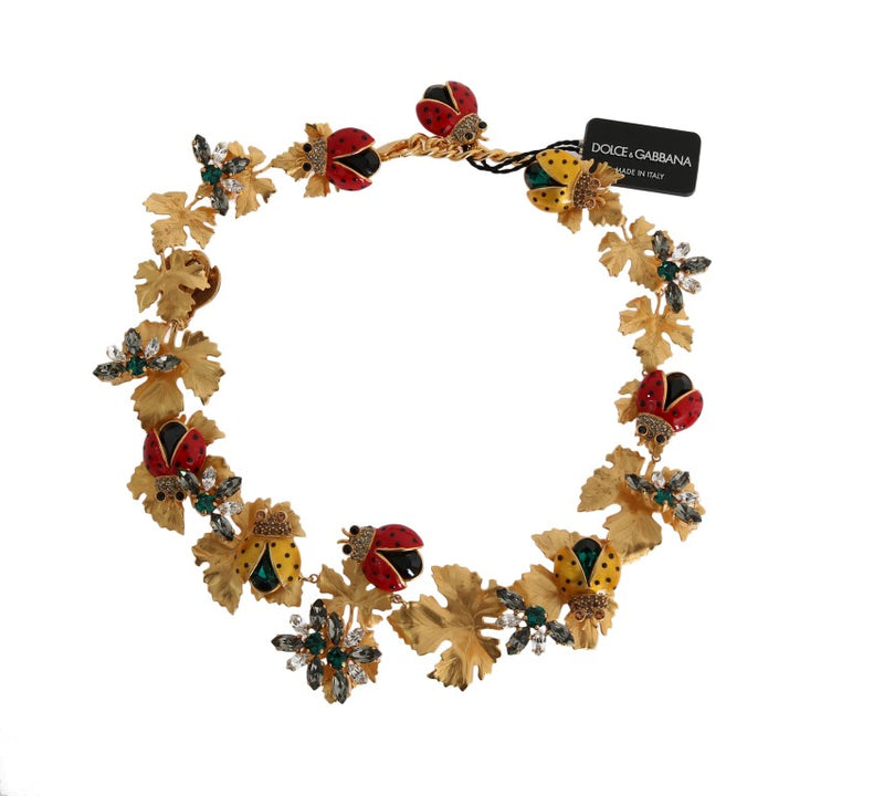Gold Brass Floral Crystal Ladybug Statement Necklace