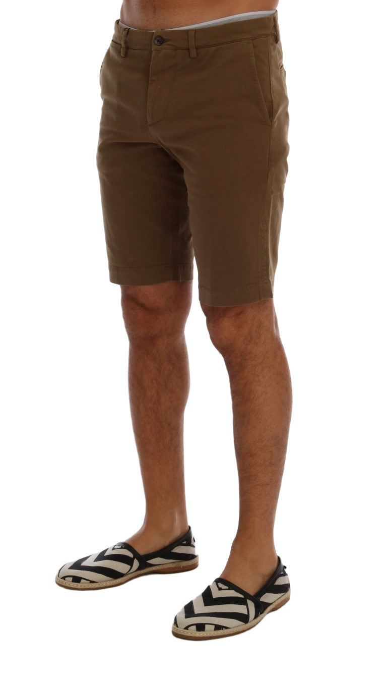 Brown Cotton Stretch Above Knees Shorts