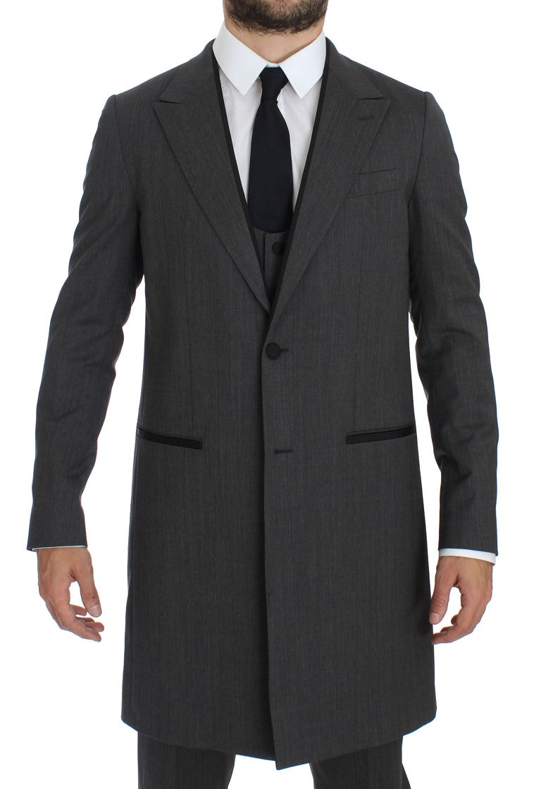 Gray Wool Stretch 3 Piece Long Blazer Suit