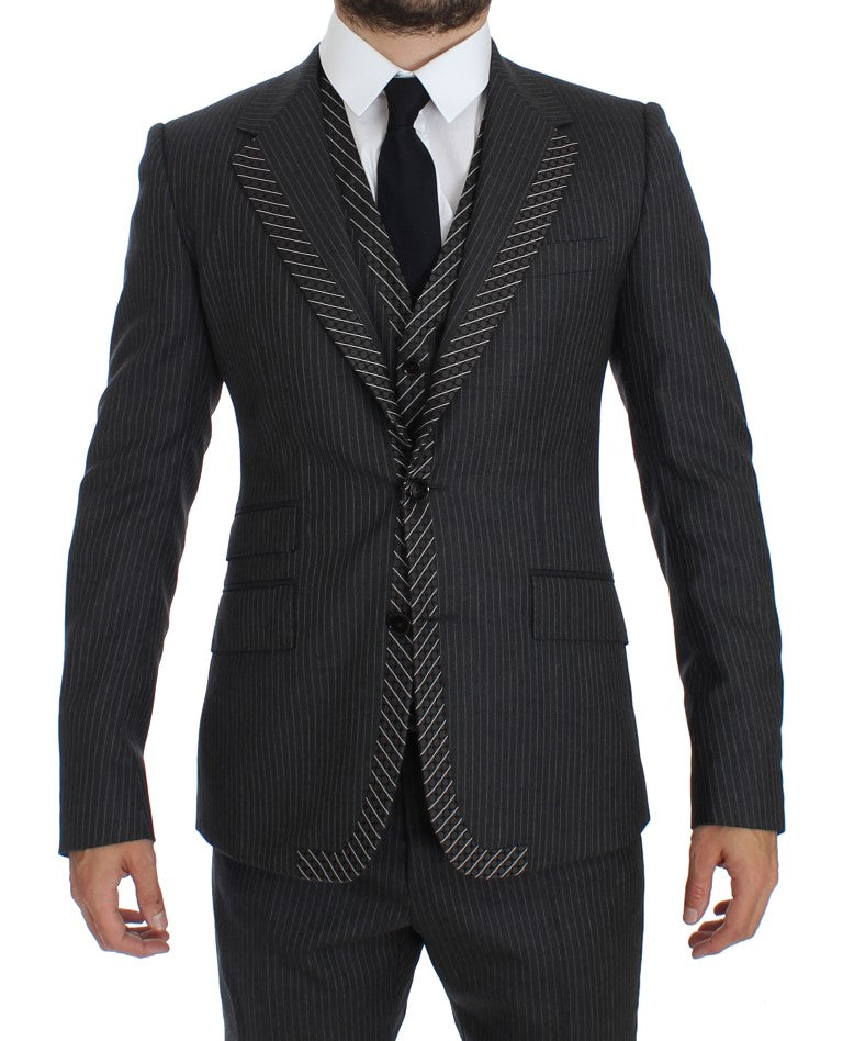 Gray Striped 3 Piece Slim Suit Tuxedo