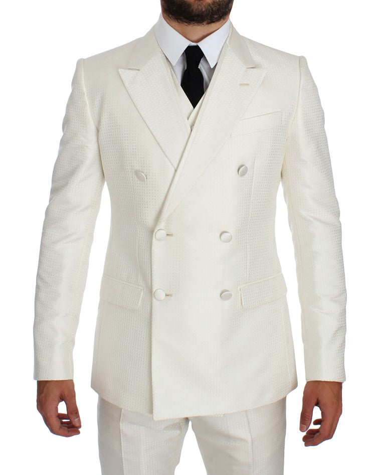 White Silk Double Breasted 3 Piece Suit