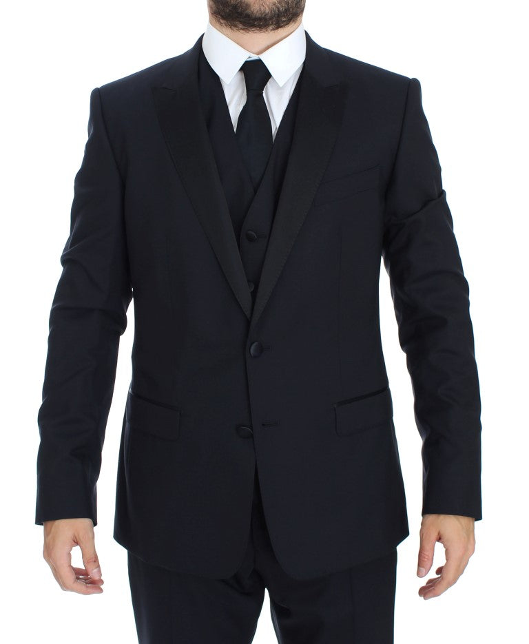 Blue Wool Silk 3 Piece Slim Suit Tuxedo