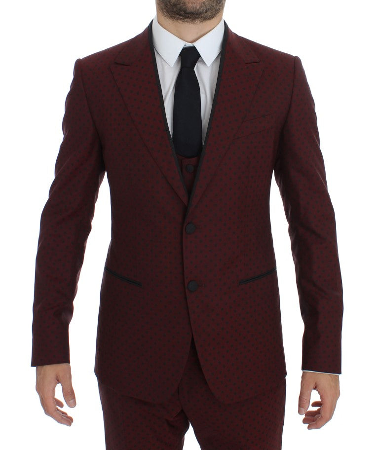 Bordeaux Wool Stretch Slim 3 Piece Suit