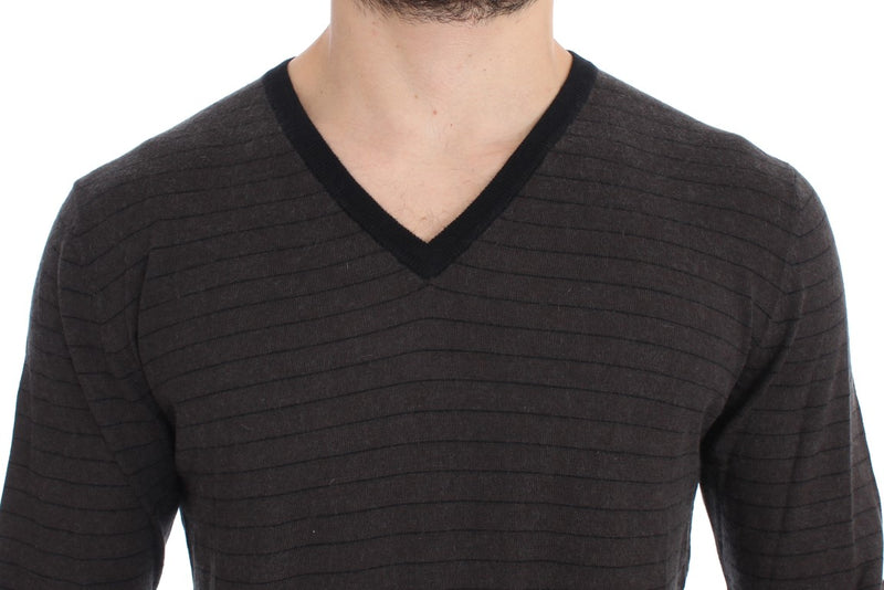 Gray Black Striped V-neck Sweater