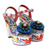 Multicolor Handpainted Crystal Sandals Majolica Shoes
