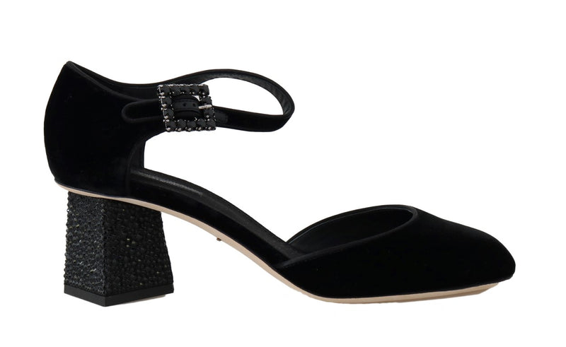 Black Velvet Crystal Mary Janes Shoes