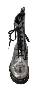 Silver Leather Zipper Mid Calf Boots