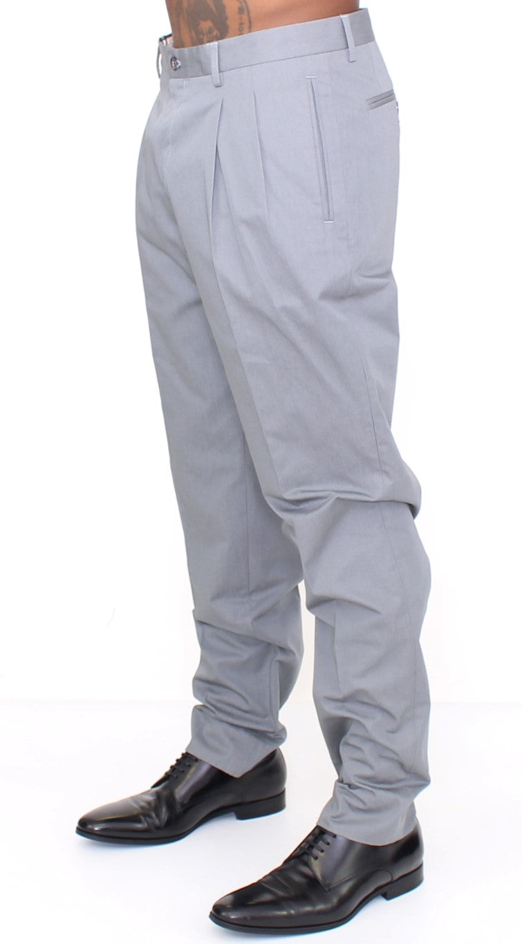 Gray Cotton Slim fit Pants Chinos