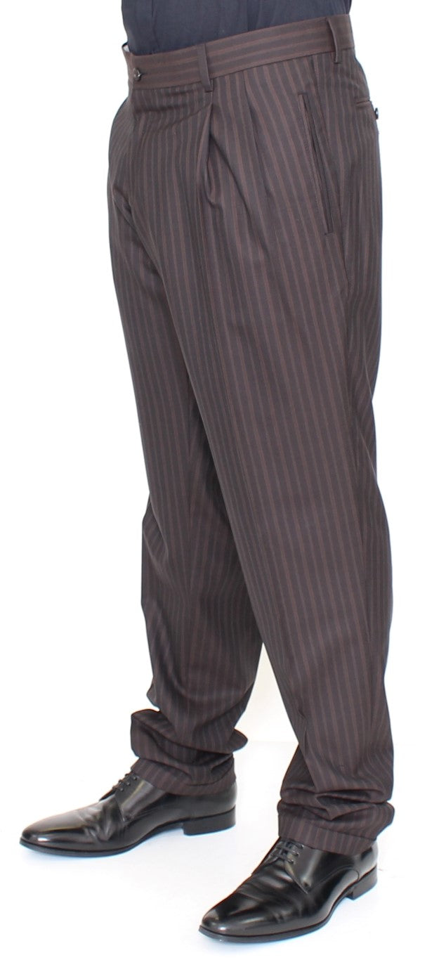 Brown Wool Stretch Pleated Pants