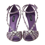 Purple Silk Crystal Strass Sandals