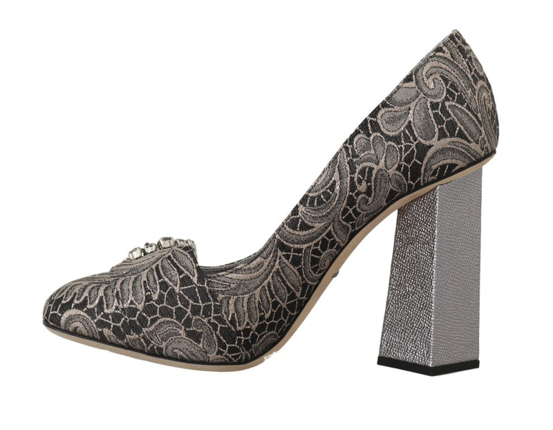 Gray Jacquard Floral Crystal Pumps Shoes