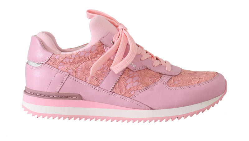 Pink Floral Lace Leather Sneakers