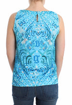 Blue printed tank top