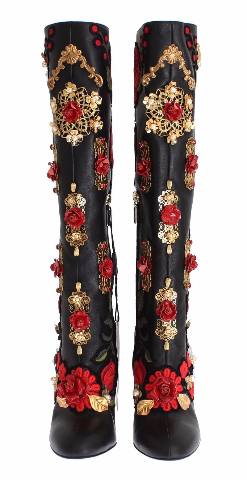 Black Red Roses Crystal Gold Heart Leather