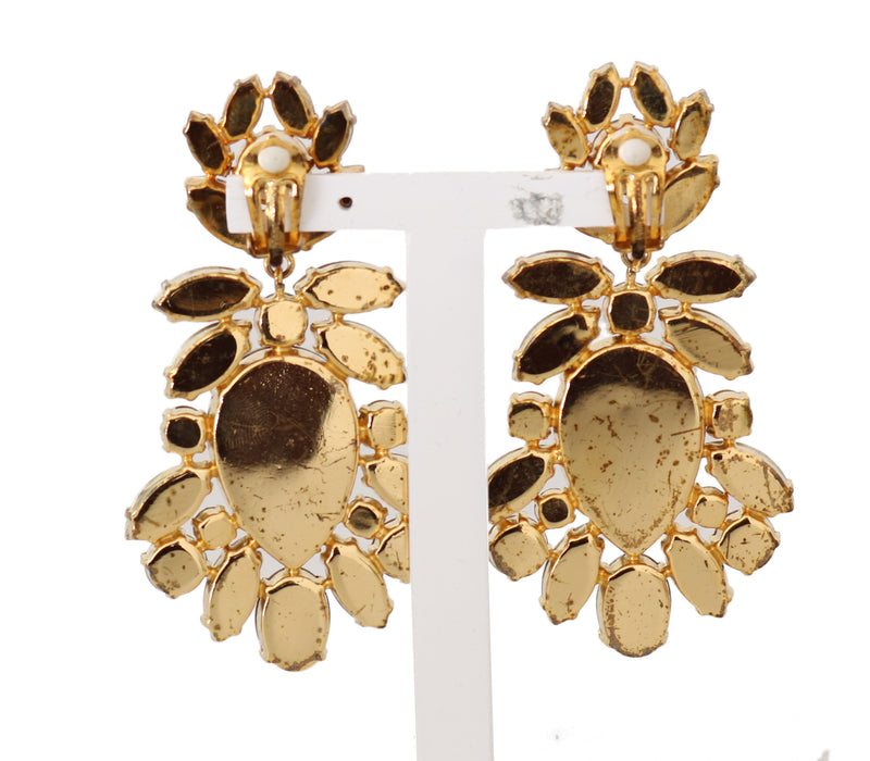 Gold Crystal SICILY Clip On Dangling Drop Earrings