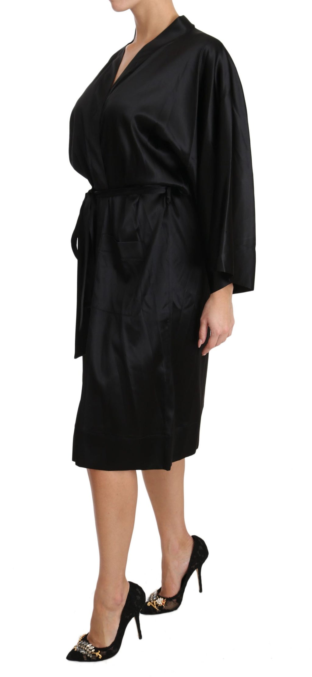 Black Kimono Gown Silk Dressing Sleepwear Robe