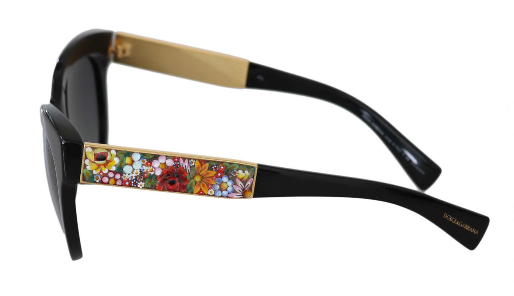 Black DG4215 Floral Applique Logo Butterfly Sunglasses