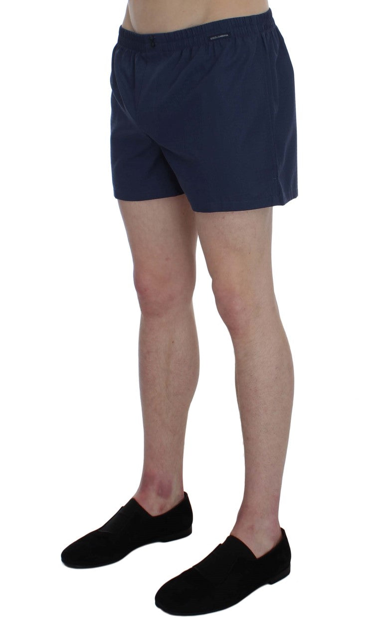 Blue Cotton Pajama Shorts
