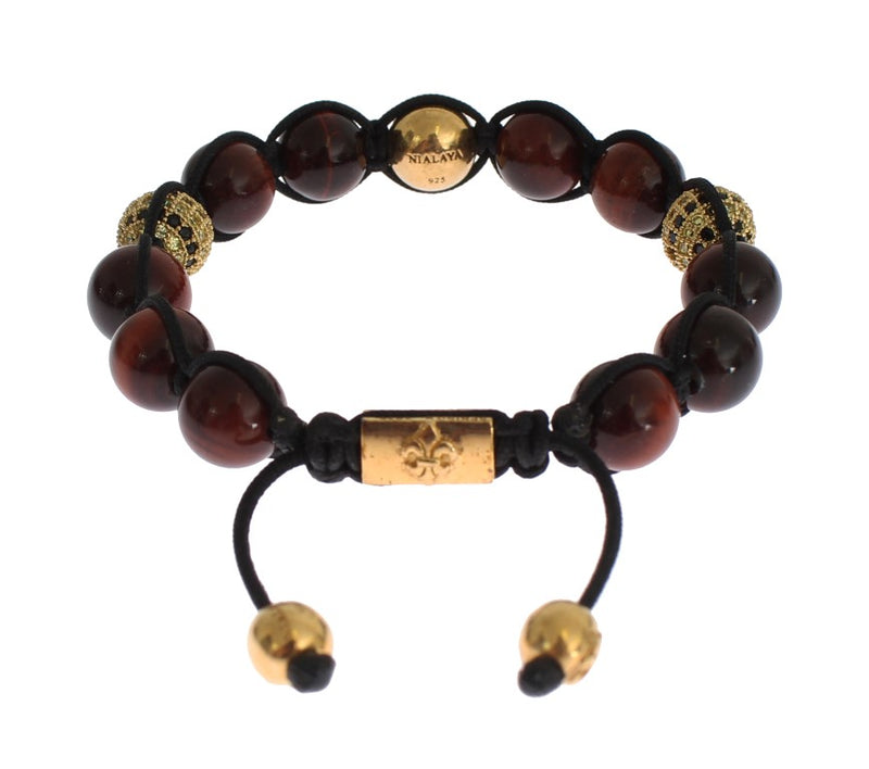 CZ Red Tigers Eye Gold 925 Silver Bracelet