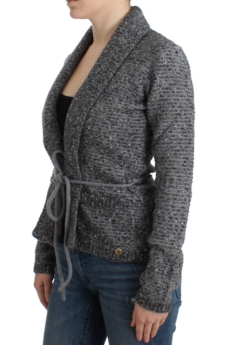 Gray wool knitted cardigan