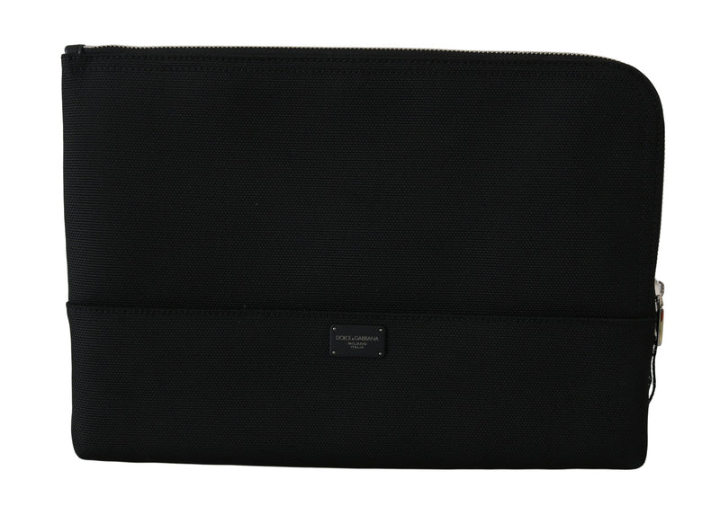 Black Zipper Logo Men Clutch Hand Pouch Nylon Bag