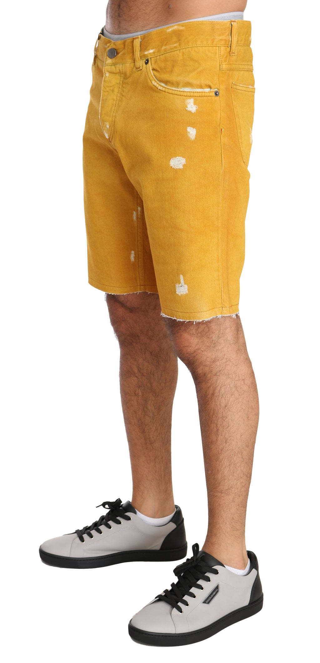 Gold Denim Cotton Above Knees Yellow
