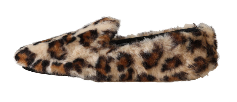 Brown Leopard Shearling Slippers Flats Shoes