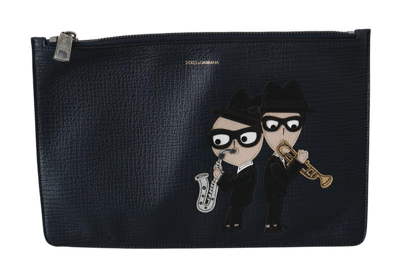 Black #DGFAMILY Zipper Clutch Hand Pouch Leather Bag