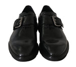 Black Leather Monkstrap Dress Formal Shoes