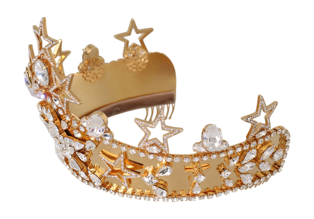 Gold Brass White Crystal Star Tiara Crown