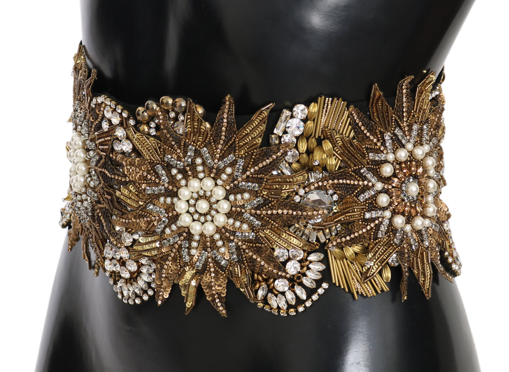 Floral Crystal Gold Pearl Wide Waist Belt
