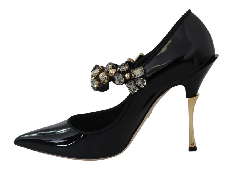 Black Leather Mary Jane Crystal Shoes