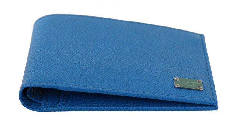 Blue 100% Leather Bill Cardholder Bifold Men Wallet
