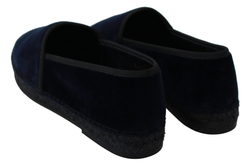 Blue Velvet Leather Espadrilles Flats Shoes