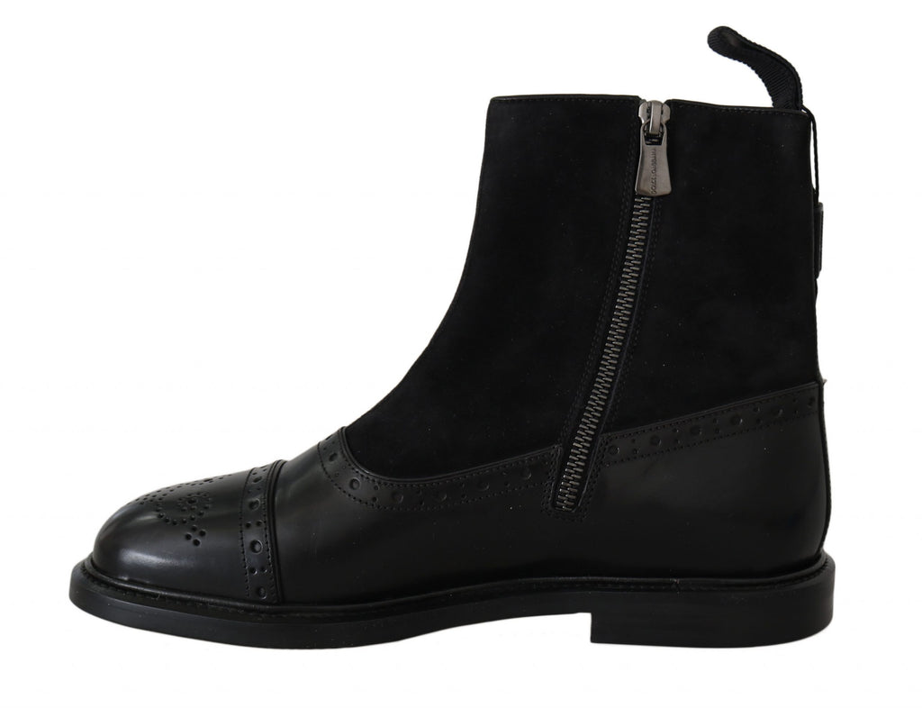 Black Suede Leather Zipper Boots Shoes
